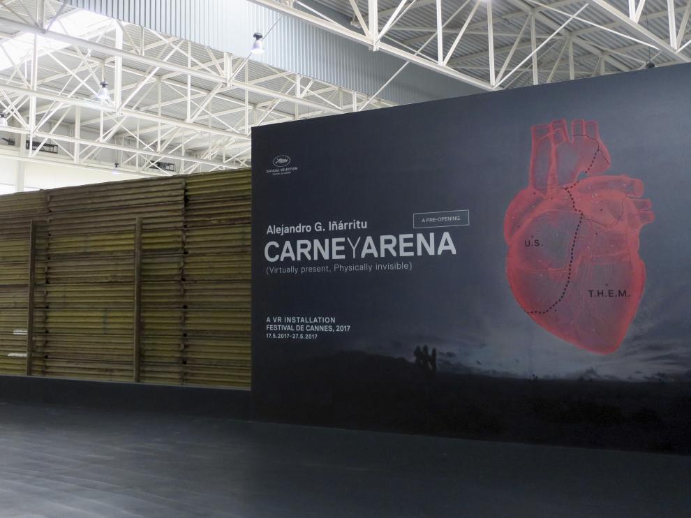 Cartel del nuevo proyecto artístico de Iñárritu, 'Carne y arena'.