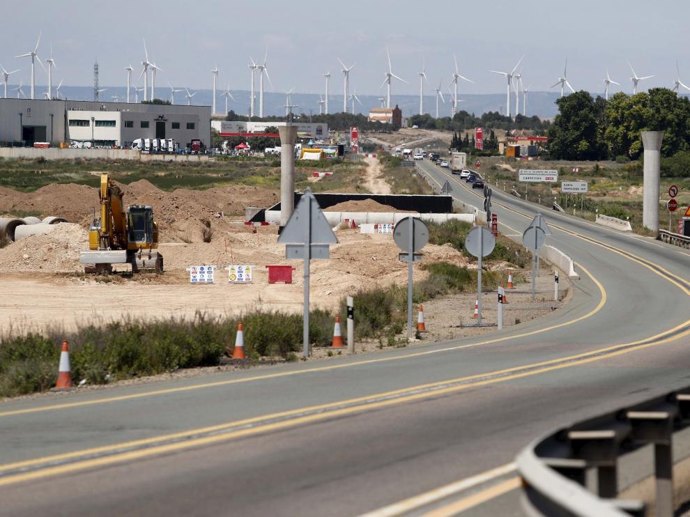 Maquinaria entre Figueruelas y Gallur, el único tramo de autovía adjudicado en cinco años.