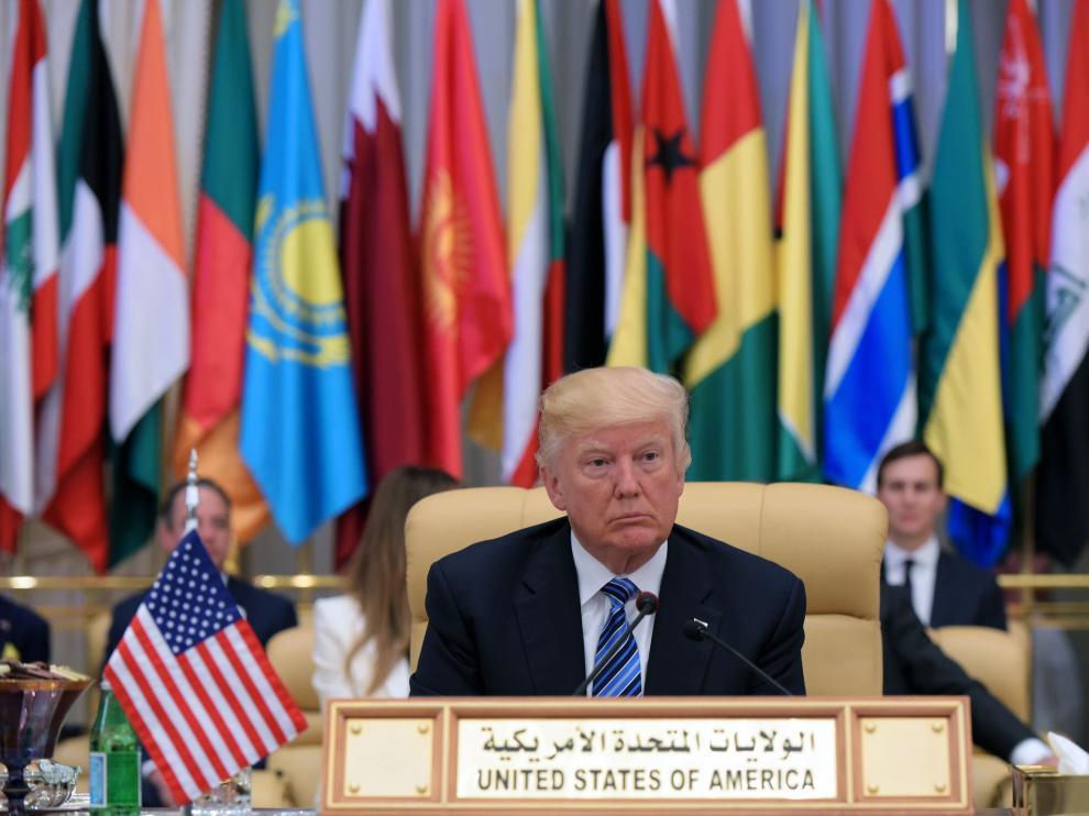 El presidente estadounidense, Donald Trump, en una cumbre en Riad.