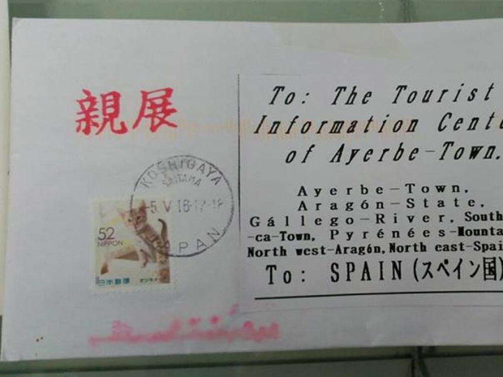 La carta que ha llegado a Ayerbe desde Japón.