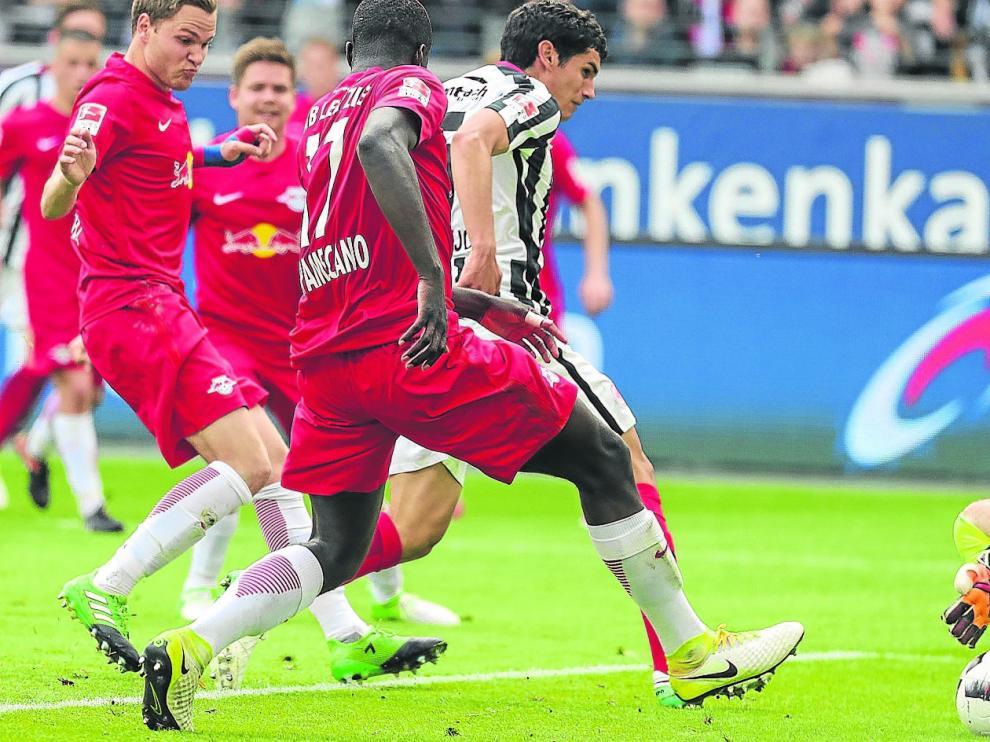 Imagen del gol logrado por Vallejo el pasado fin de semana ante el Leipzig.