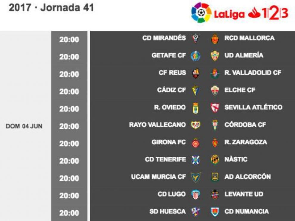 Plan de juego para la penúltima jornada de Segunda División, en horario conjunto.