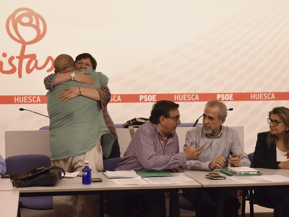Reunión de partidarios de Sánchez del PSOE-Huesca, para tratar del congreso federal.