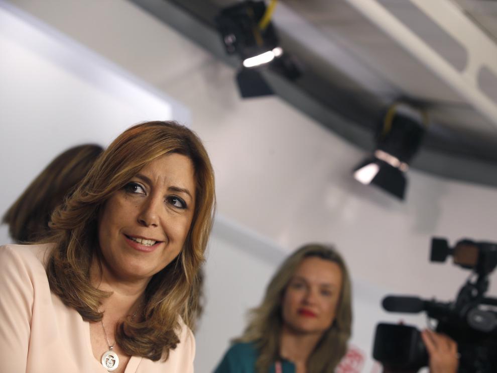 Susana Díaz durante su comparecencia en Ferraz tras la victoria de Pedro Sánchez en las primarias.