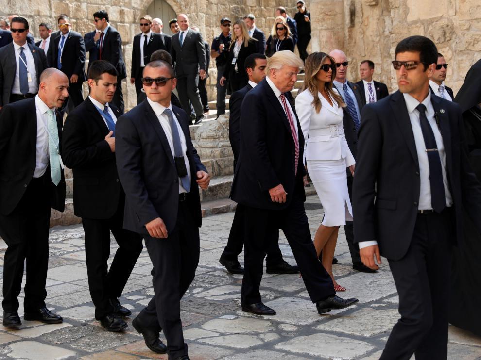 Donald Trump y su familia en una visita a Jerusalén.