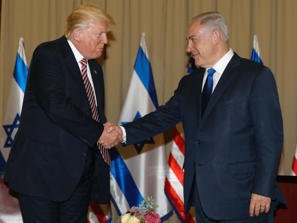 El presidente de Estados Unidos, Donald Trump, y el primer ministro de Israel, Benjamin Netanyahu,  en Jerusalén.