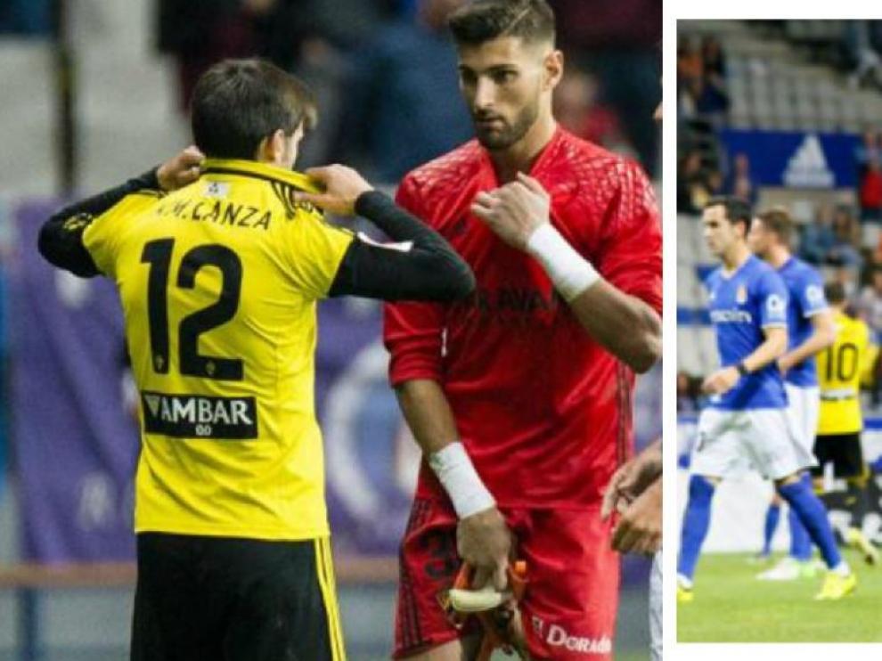 A la izquierda, Lanzarote se quita su camiseta con el número 12 y Ratón la suya roja, una vez fue expulsado en Oviedo. A la derecha, Lanzarote, ya vestido de portero, guantes incluidos, se dirige a la portería del Real Zaragoza para defenderla.