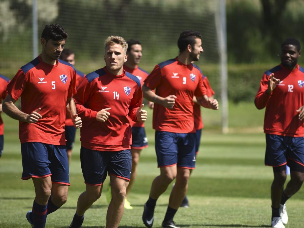 La plantilla del Huesca pide el apoyo de la afición en su gran temporada.
