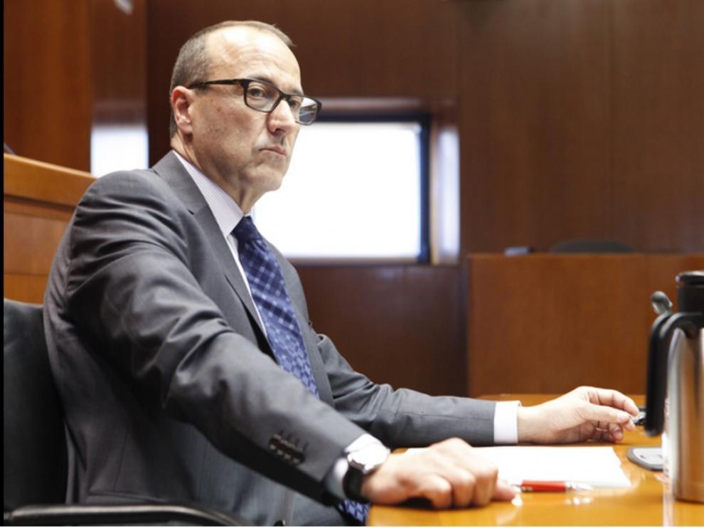 Imagen del secretario general técnico de Educación, Felipe Faci, durante su comparecencia