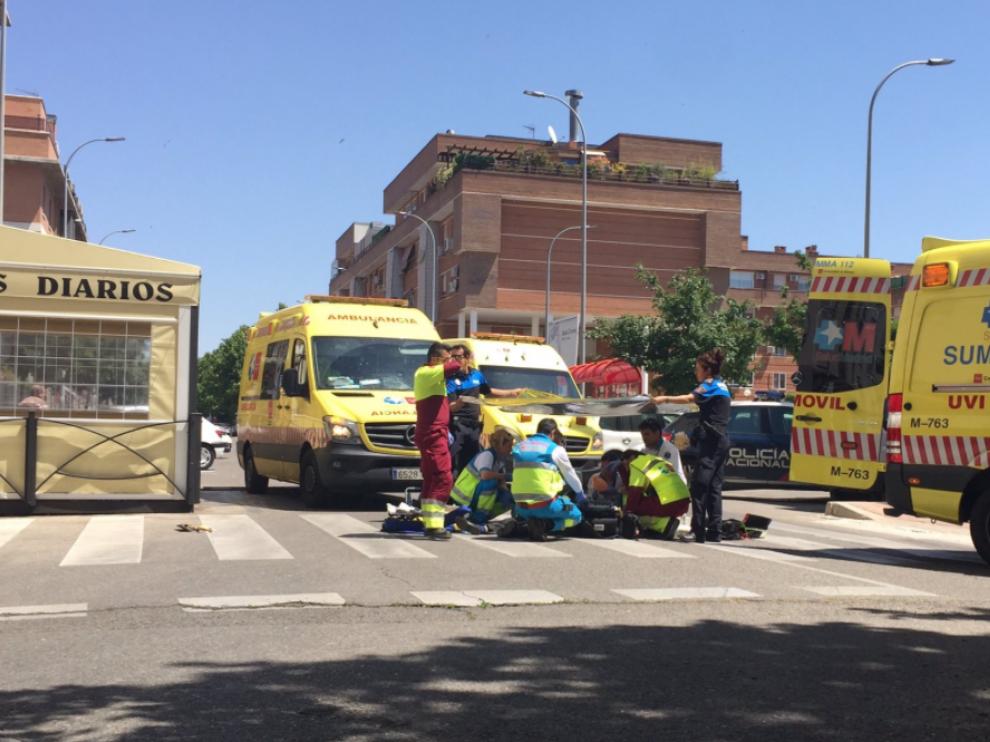 Lugar del accidente, en la avenida de los Fresnos de Torrejón de Ardoz.