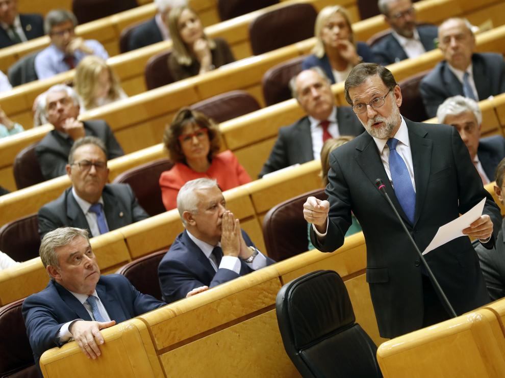Rajoy, este martes en el pleno del Senado.