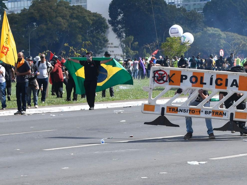 Protesta contra Temer en Brasilia.