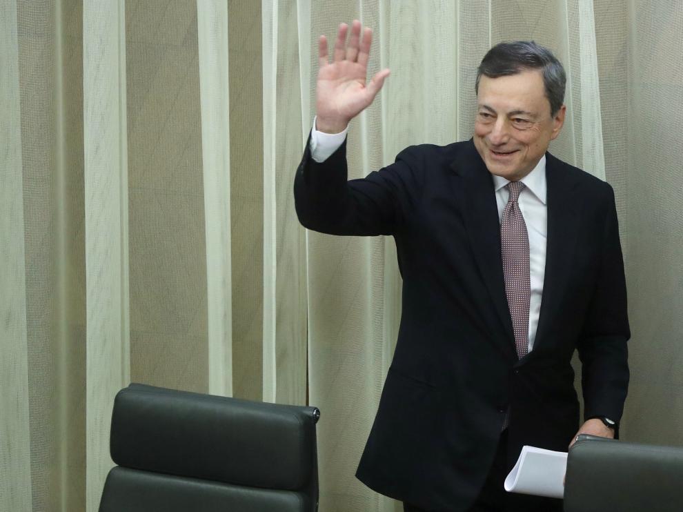 Mario Draghi durante la comparecencia de este miércoles.
