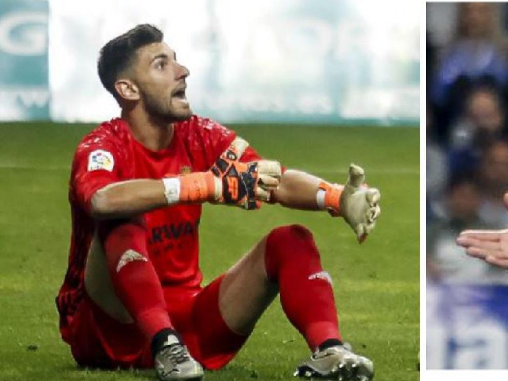 Ratón y Marcelo Silva, protestando las tarjetas que mostró el árbitro, Figueroa Vázquez, el pasado sábado en Oviedo.