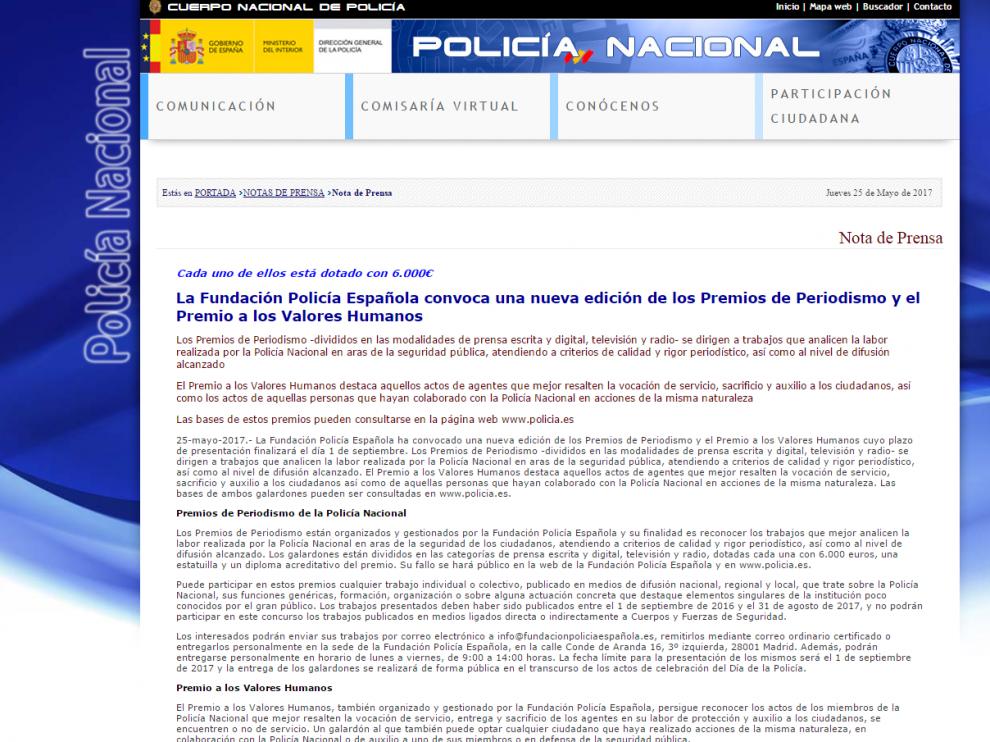 Página web de la Policía Nacional.