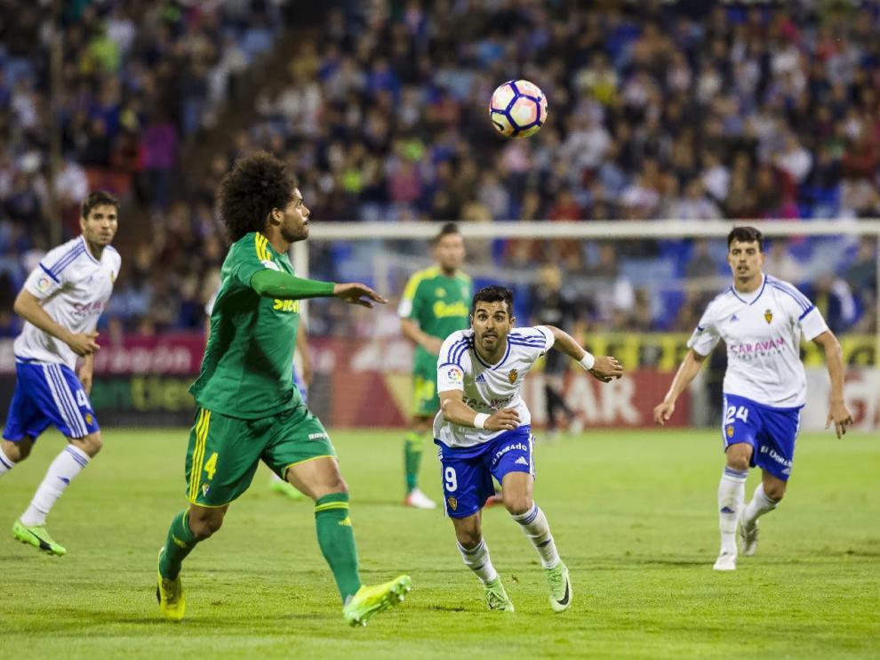 Un lance del último partido en La Romareda, el Real Zaragoza-Cádiz.