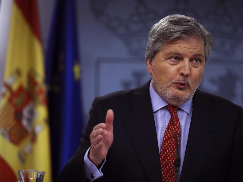 El portavoz del Gobierno, Íñigo Méndez de Vigo, durante la rueda de prensa posterior al Consejo de Ministros de este viernes.