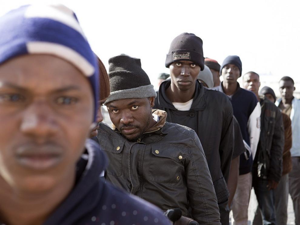 Llegada de inmigrantes a Motril.