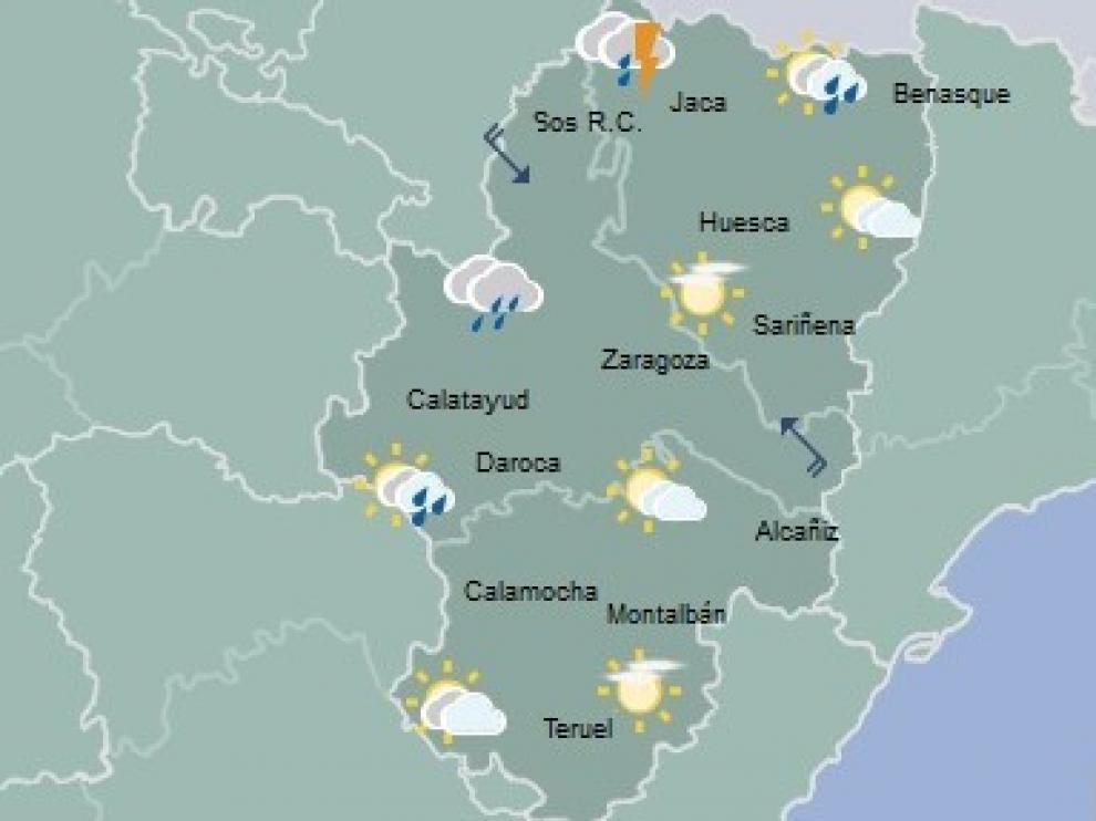Chubascos y precipitaciones acompañadas de tormenta en la mitad oeste y Pirineos