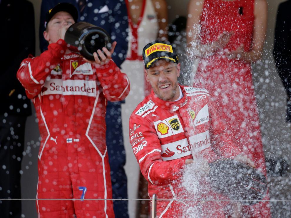 Sebastian Vettel celebra su victoria en el Gran Premio de Mónaco.