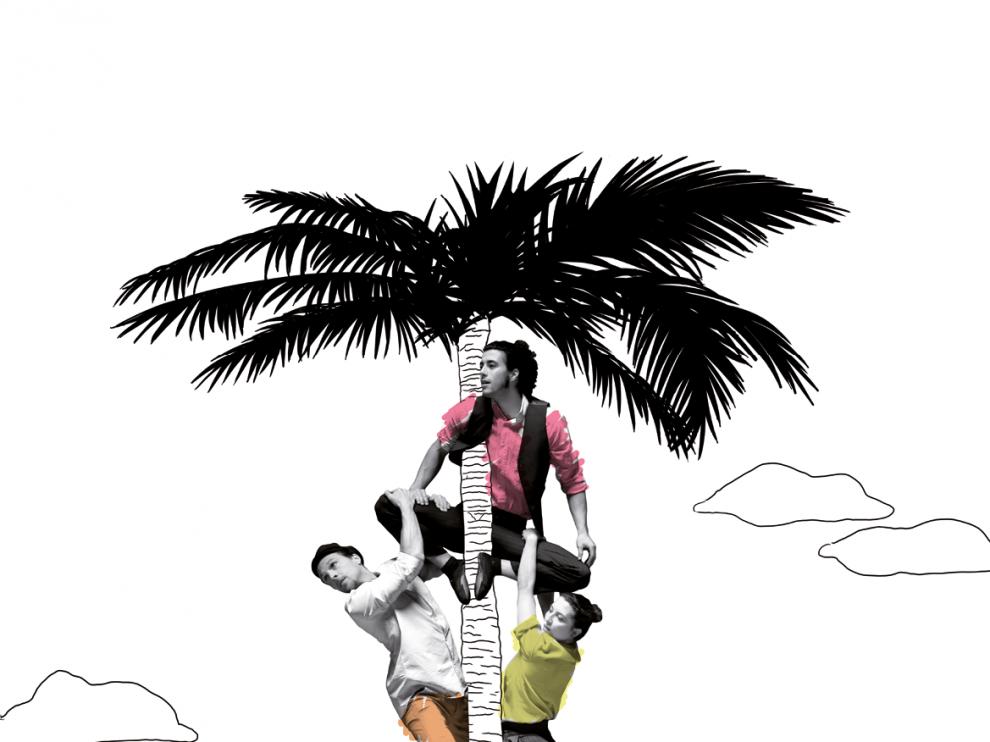 Hugo Gauthier, Javier García y Ana Castrillo, en el cartel del espectáculo 'Isla'