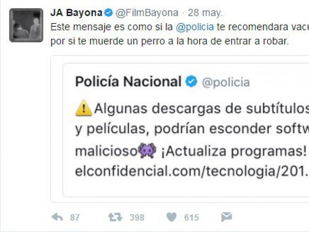 Respuesta de J. A. Bayona al 'tuit' de la Policía Nacional.