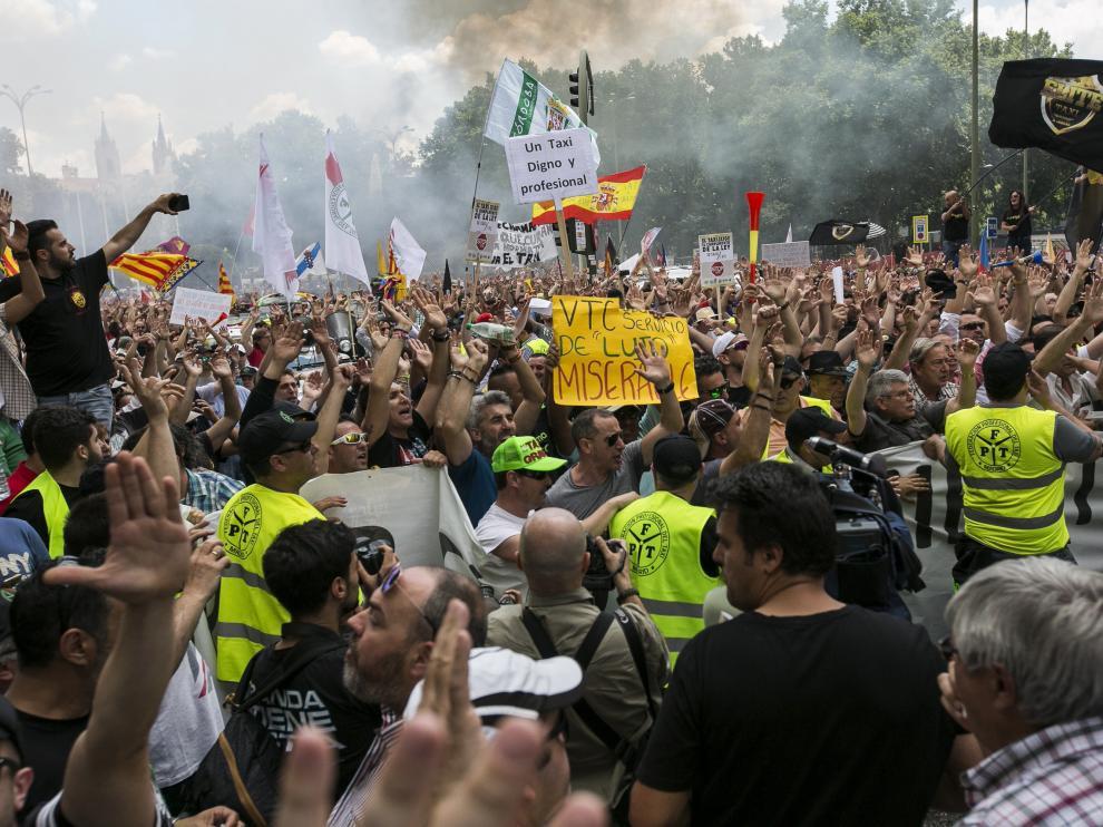 Protesta en el centro de Madrid.