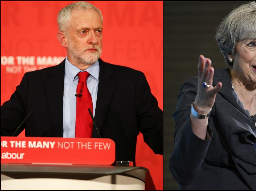 Montaje de dos imágenes de Corbyn y May.