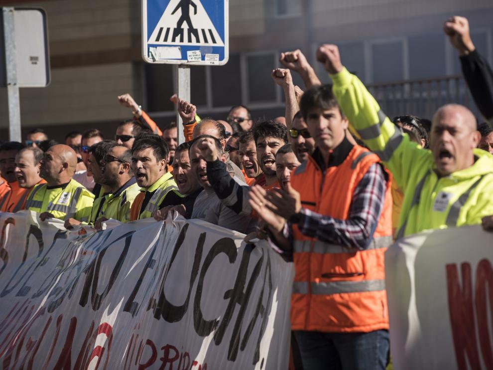 Huelga de estibadores en el puerto de Bilbao.