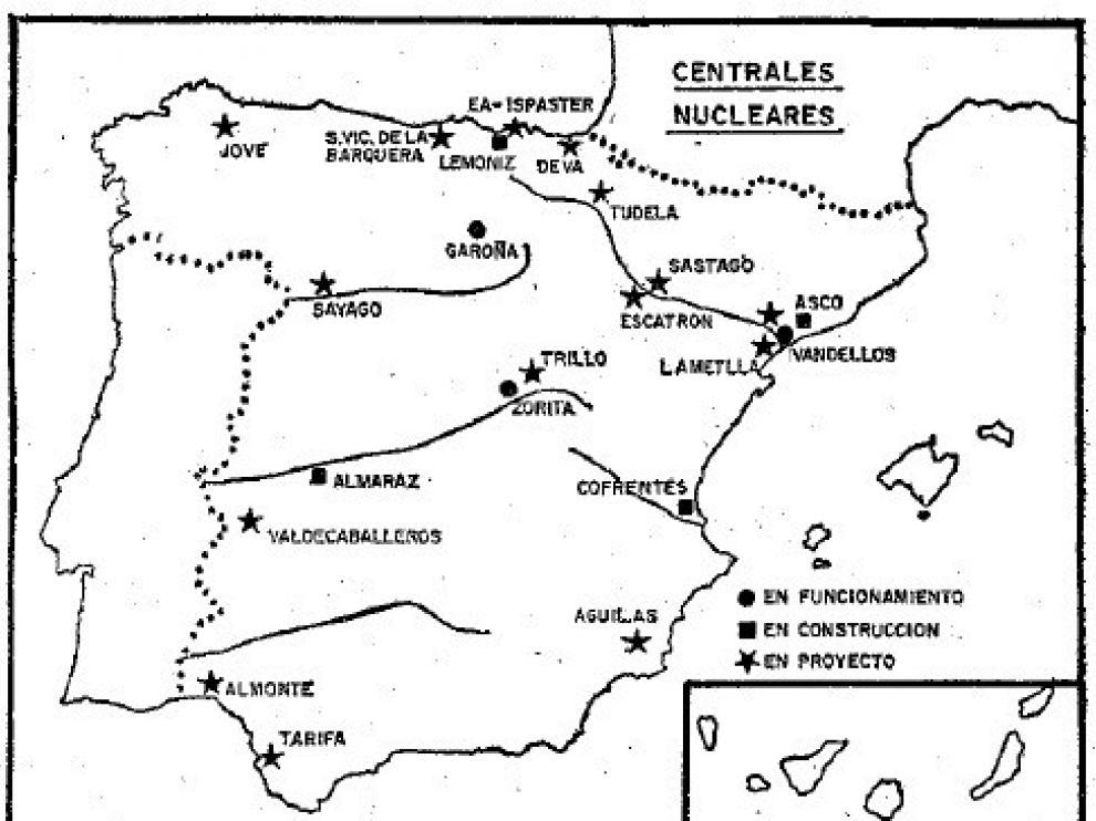 Mapa de centrales nucleares en funcionamiento, en construcción y en proyecto publicado en 1974