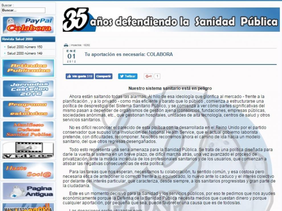 La Federación de Asociaciones para la Defensa de la Sanidad Pública pide donaciones en su web
