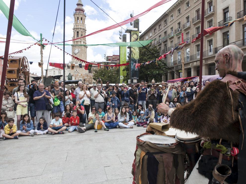 Imagen de la edición del año pasado del Mercado Medieval de las Tres Culturas, en la plaza del Pilar.