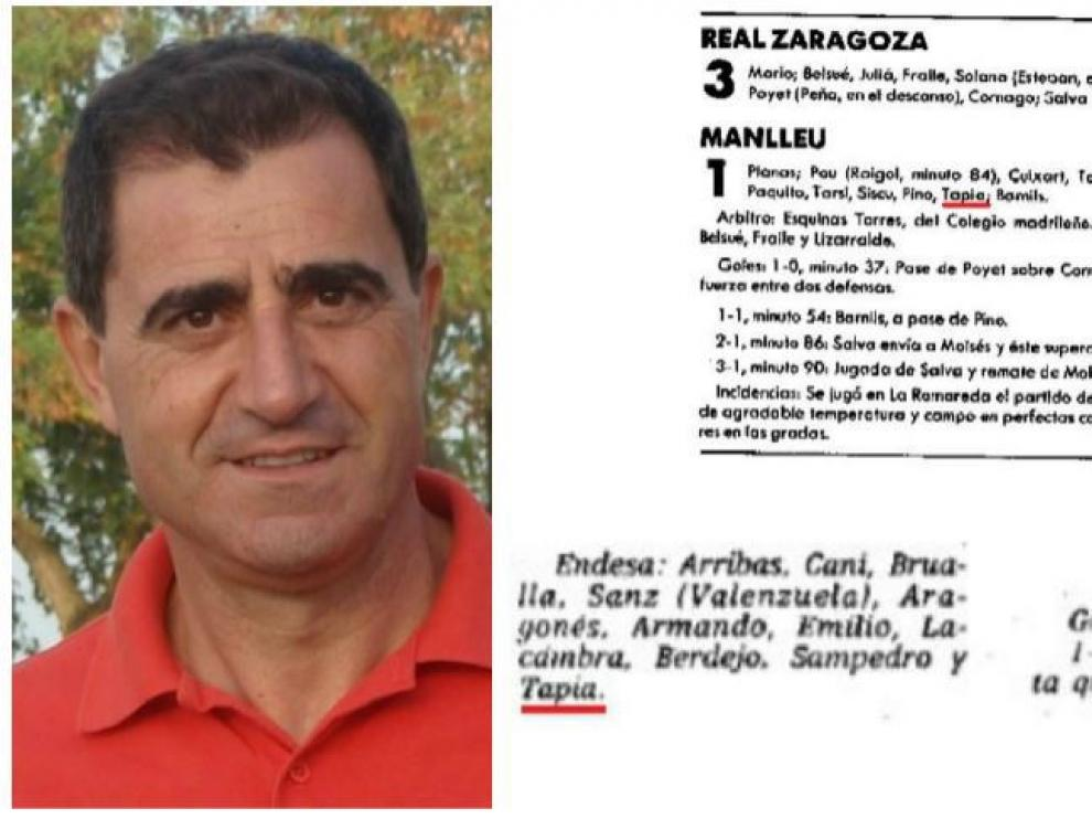 Bernardo Tapia junto a algunas alineaciones extraídas de las crónicas de HERALDO.