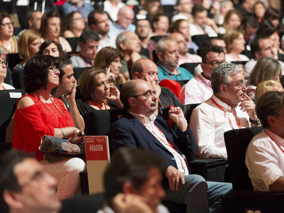 Javier Lambán, este sábado en el plenario del congreso que celebra el PSOE federal en Madrid.