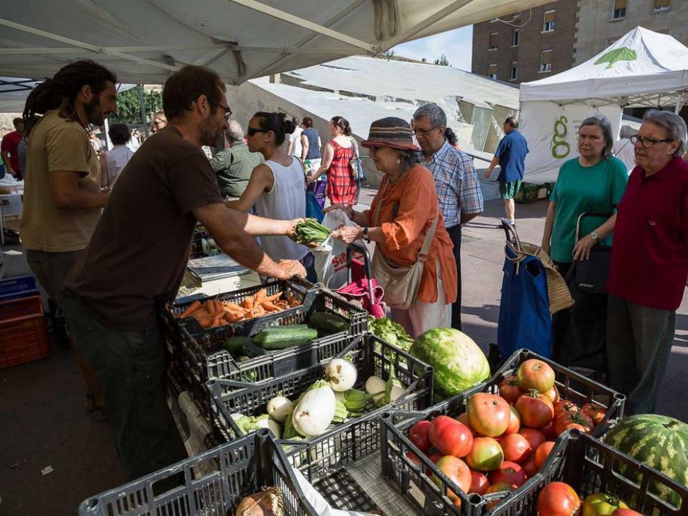 Mercado de productos ecológicos en la Plaza del Pilar