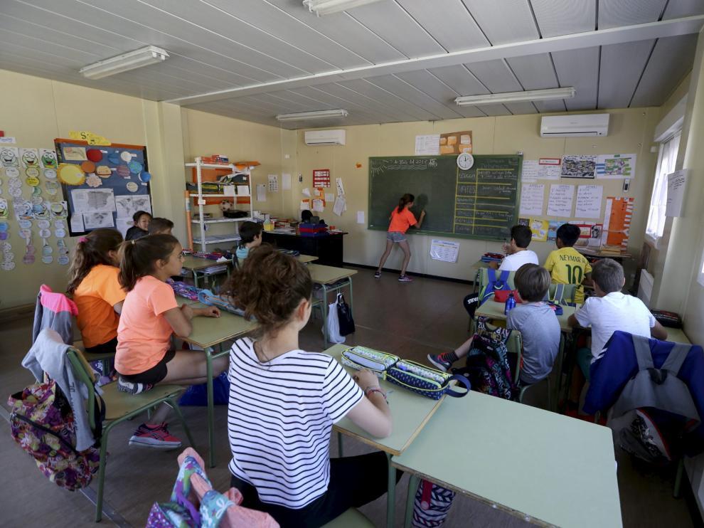 Los niños de 4º han pasado este curso en aulas prefabricadas, que continuarán el 2017/2018.