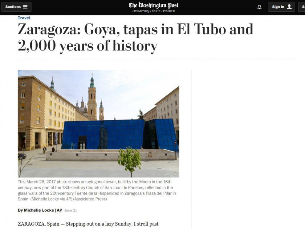 El diario estadounidense ha publicado un reportaje sobre Zaragoza.