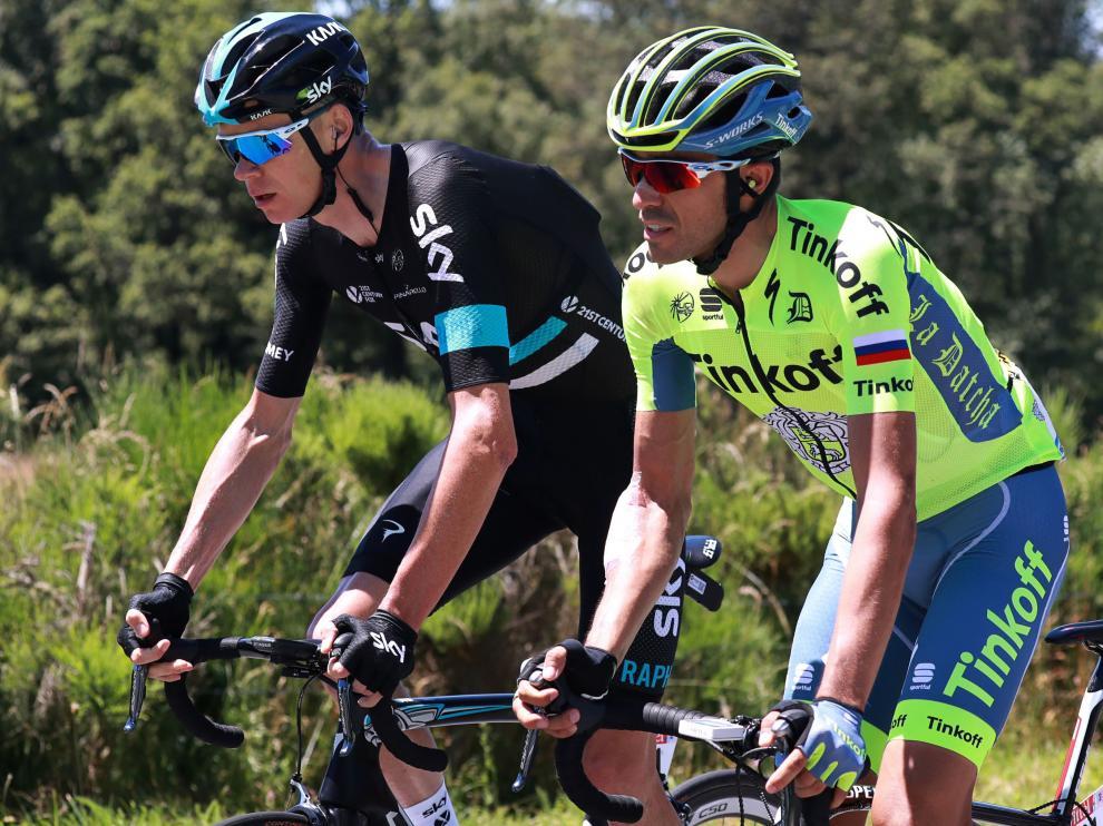 Chris Froome y Alberto Contador durante la pasada edición del Tour de Francia.