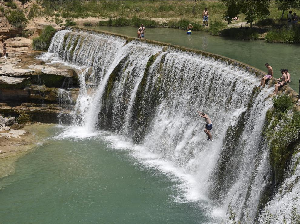 El espectacular salto de Bierge, en el río Alcanadre, donde la DGA ha restringo el acceso para evitar riesgos.