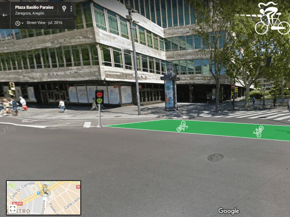Así quedaría el carril bici de paseo de Sagasta