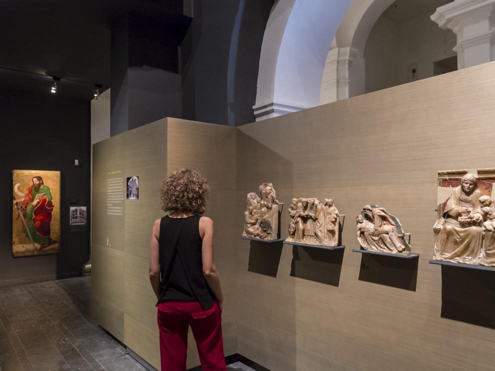 Piezas del retablo de Santa Ana, procedentes de Sijena y retenidas en el Museo de Lérida.