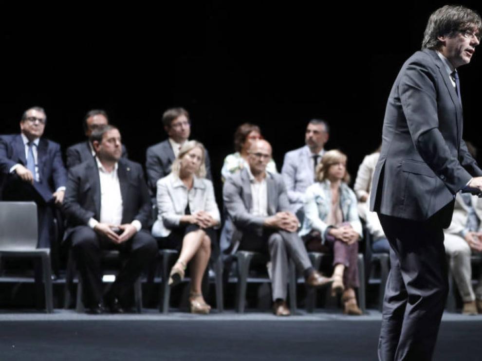 El presidente catalán durante el acto del referéndum.