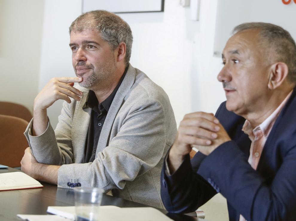 Unai Sordo y Pepe Álvarez,  secretarios generales de CC. OO. y UGT el pasado día 10 en Madrid.