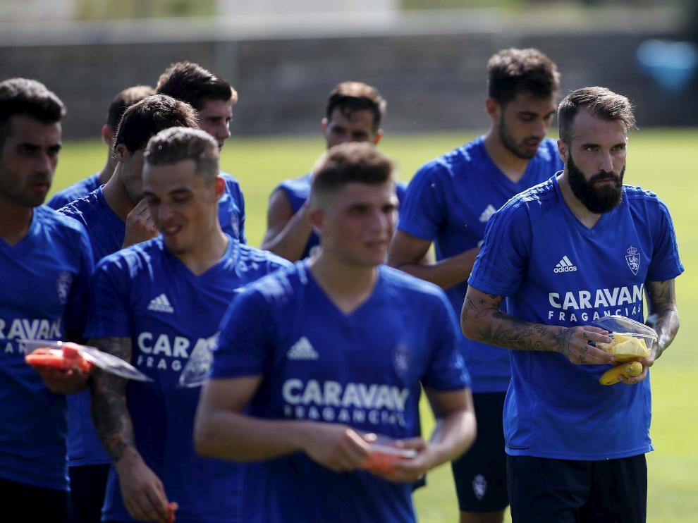 Imagen del primer entrenamiento del Real Zaragoza esta pretemporada.