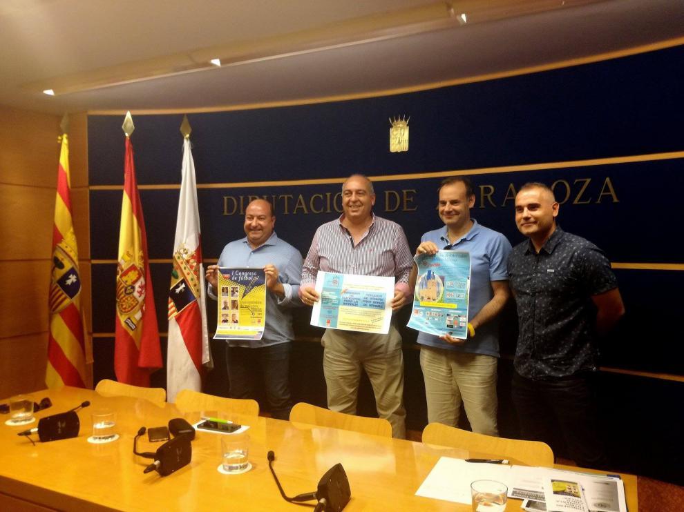 """Presentación del """"I Congreso de Fútbol Comarca de las Cinco Villas"""" en la Diputación Provincial de Zaragoza."""