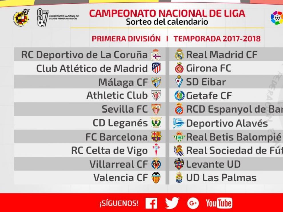 Encuentros de la primera jornada de LaLiga Santander 2017-18.