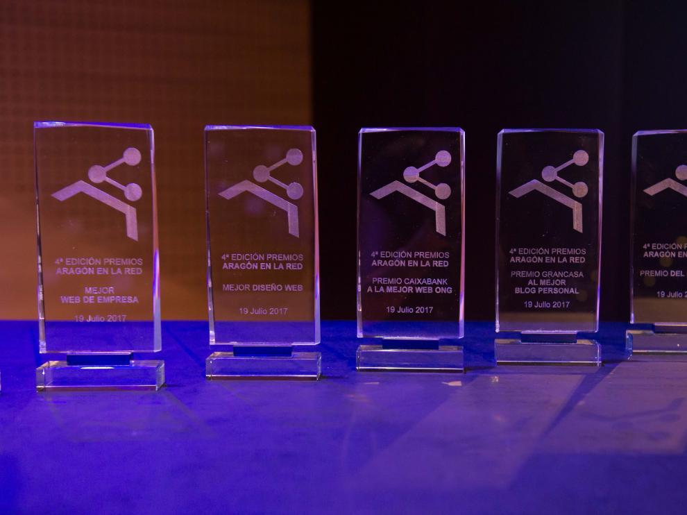 Galardones que se entregaron en la cuarta edición de los premios Aragón en la Red.
