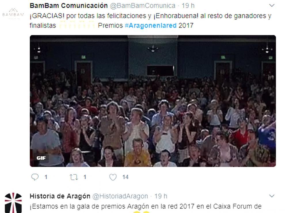 Momentos destacados de los 'Premios Aragón en la Red', en Twitter.