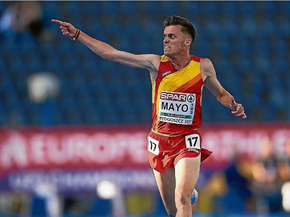 Mayo celebra la medalla de oro en 10.000 metros durante el reciente Europeo sub 23.