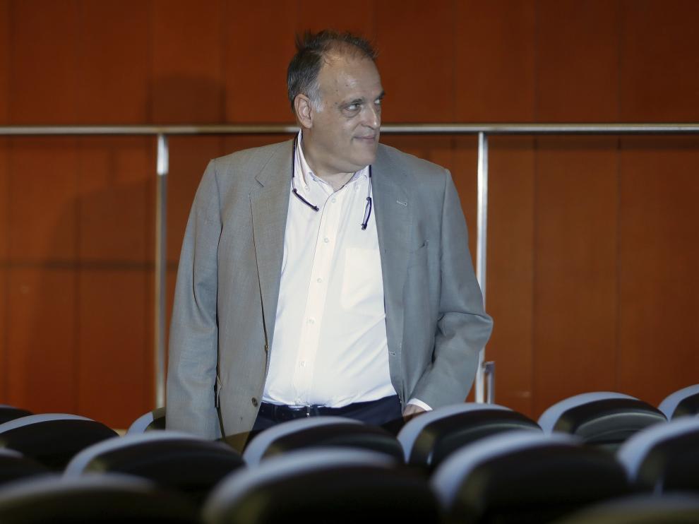 El presidente de LaLiga, Javier Tebas, en una imagen de este viernes.